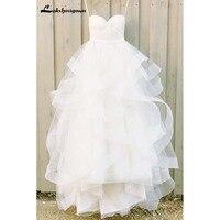 Ivory Sweetheart Tulle Floor Length Beach Wedding Dresses With Ruffles Bridal Gown Vestido De Casamento
