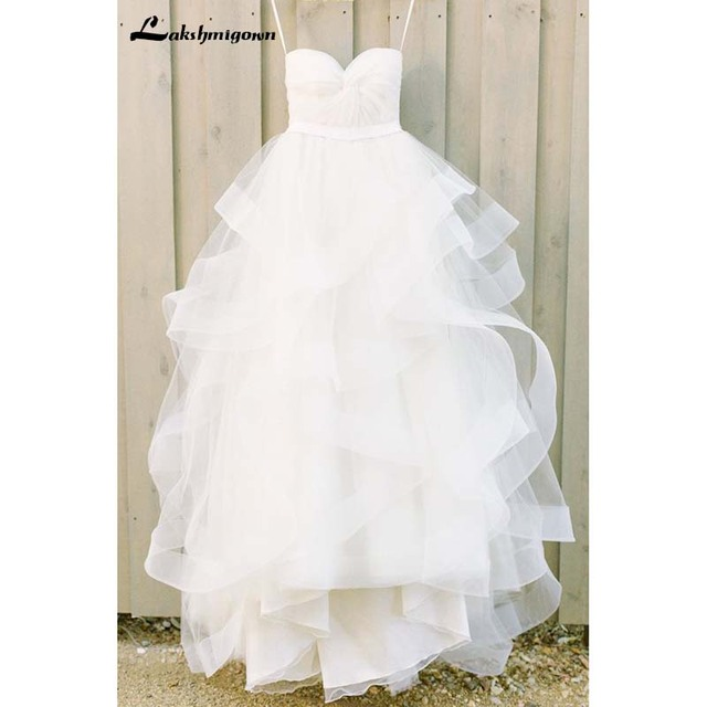 Ivory Sweetheart Tulle Floor-length Beach Wedding Dresses With Ruffles Bridal Gown Vestido De Casamento