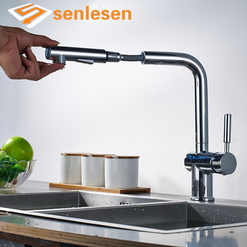 Wholesale And Retail Kitchen Faucet Chrome/ Brushed Deck Mounted Pull Out Sprayer Vessel Sink Cold and Hot Mixer Tap flg best quality wholesale and retail pull out brass low pressure kitchen faucet black colour deck kitchen tap mixer pull up