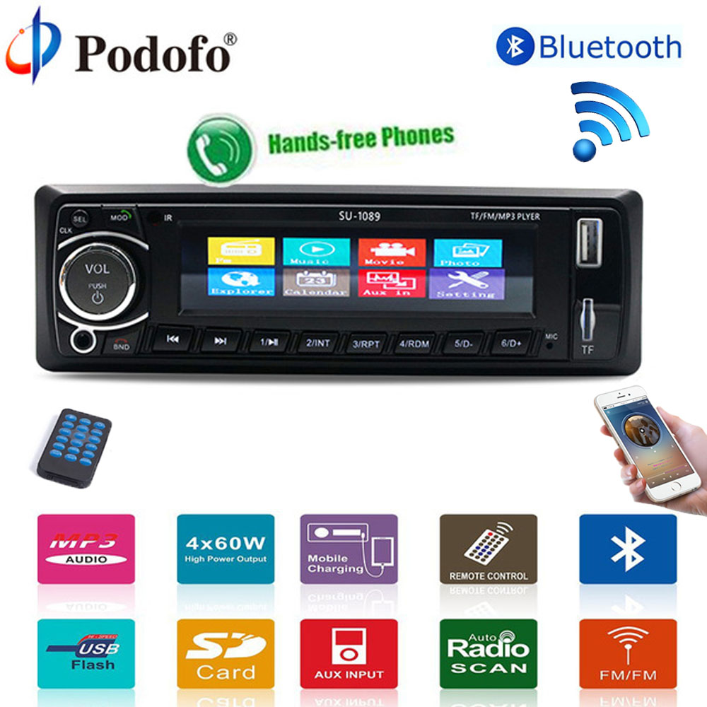 Podofo Autoradio Car Radio Stereo Player Bluetooth 4 12V car stereo Player In dash 1Din Phone