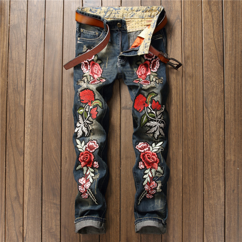 NEW Personality Embroidery Beauty Badge Patch Flowers Ripped Distressed Jeans Men Biker Jeans Rap Hip Hop Denim Casual Pants Men newsosoo personality badge patchwork jeans mens ripped men jeans rap biker hole hip hop denim straight slim fit casual men pants