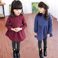 Além de Veludo Inverno Vestido Da Menina Quente Do Bebê Roupas Polka Dot Vestido de Princesa Crianças Coreano Crianças Casuais Roupas Vestido Infantil
