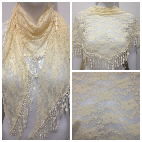 FOXMOTHER 2018 New Women Beige Lace Scarf With Tassel