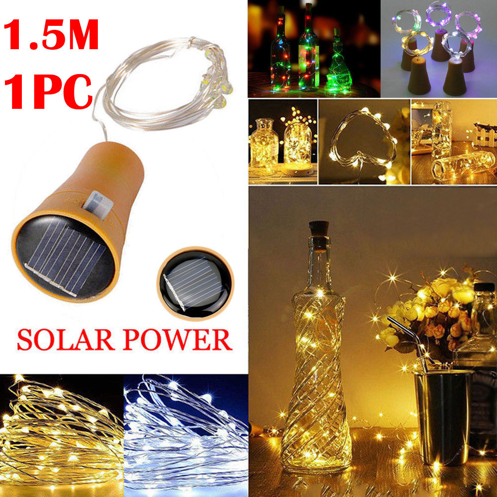 15LED 1.5M Solar Cork Wine Bottle Stopper Copper Wire String Lights Fairy Lamps Outdoor Party Decoration