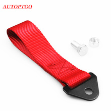 Red Racing Front Rear Bumper Hook Trailer Tow Towing Strap Rope For Car JDM Honda Hyundai Toyota Kia Bmw Audi Nissan Tow Ropes new cnc aluminum front rear tow hook screw car racing cnc for mitsubishi lancer evo ex red auto trailer towing bars high quality