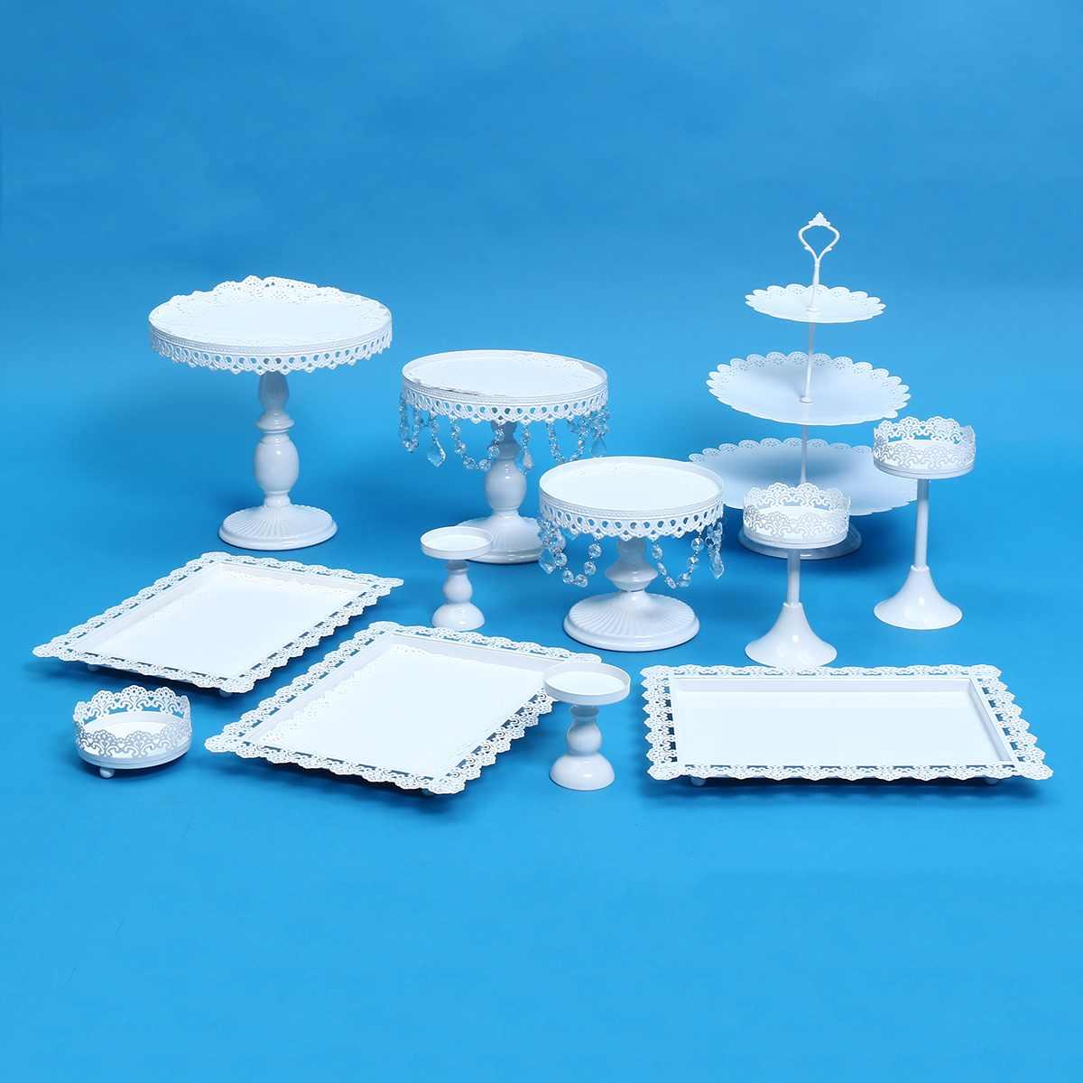 Métal fer 12 pièces/ensemble supports à gâteau support Cupcake support plaque fête d'anniversaire présentoir cadeaux maison mariage décoration blanc