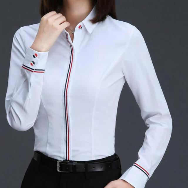 Women Business Blouse Button Long Sleeve Lapel Ladies Office Work Shirts Elegant Female Blusas Satin Slim Wear New Arrival