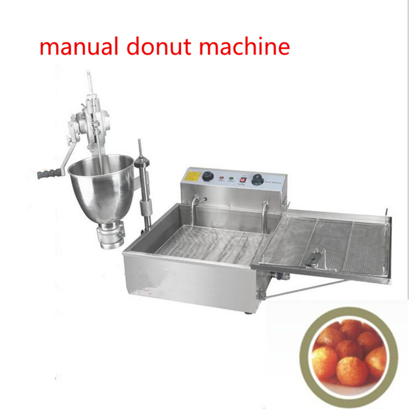 free shipping manual donut fryer machine,stainless sheel ball donut maker machine,hand operation Doughnut Maker with 3 molds fast food leisure fast food equipment stainless steel gas fryer 3l spanish churro maker machine
