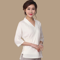White V Neck Chinese Style Blouse Women Cotton Linen Casual Shirt Spring Autumn New Lady Clothing
