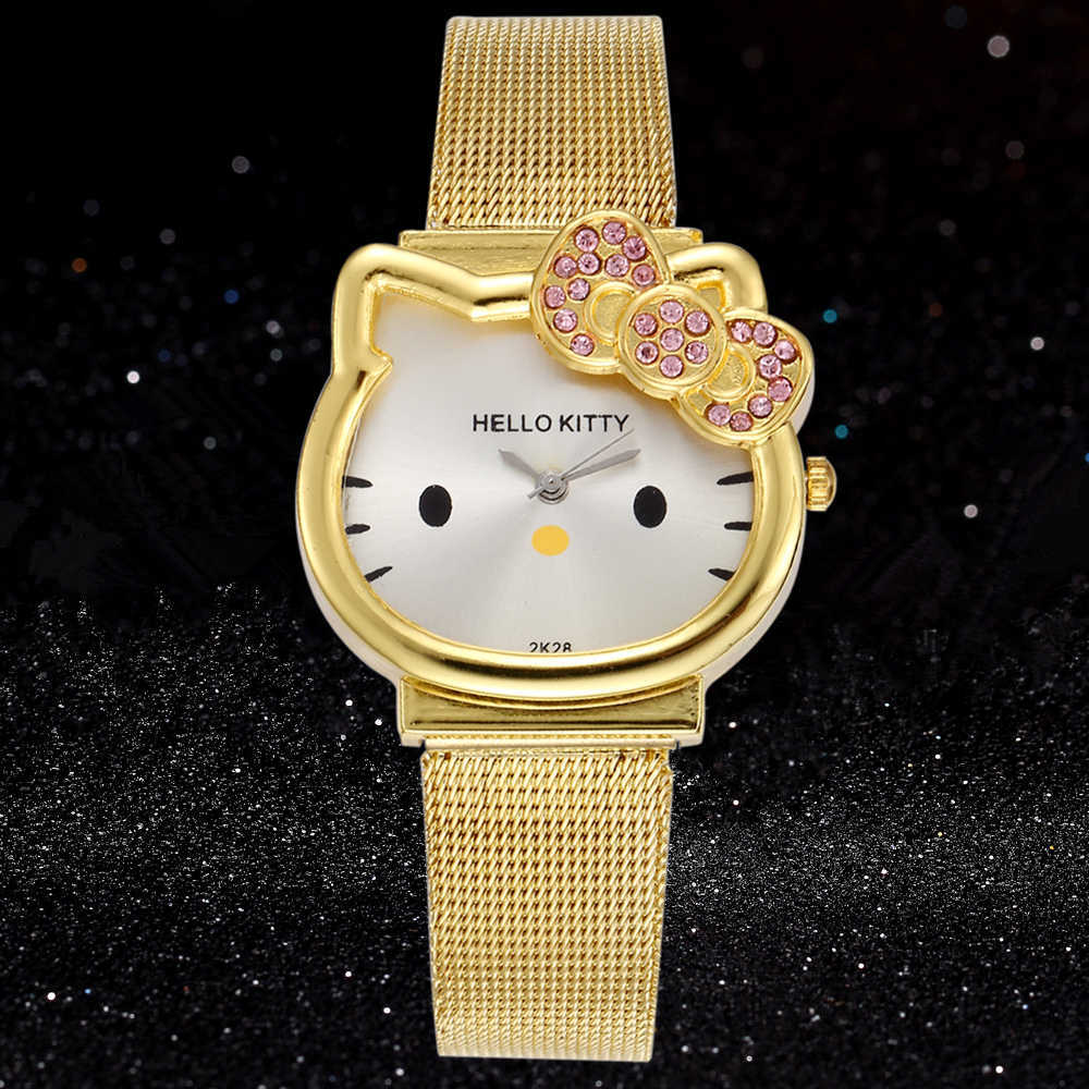0e0e9240b28 Enfant Cute Hello Kitty Babe Clocks KT Cat Dial Stainless Steel Band Luxury  Gold Diamond Watches