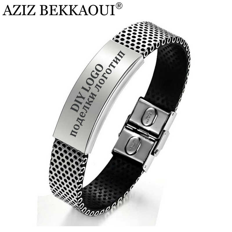 AZIZ BEKKAOUI Man Jewelry ID Bracelets For Men Personalized Name Bangle Stainless Steel Bangles Custom Logo Engrave Name Service