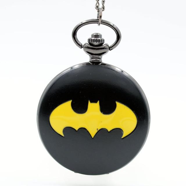 Vintage BM Batman Black Dial Movie Quartz Pocket Watch Analog Pendant Necklace M