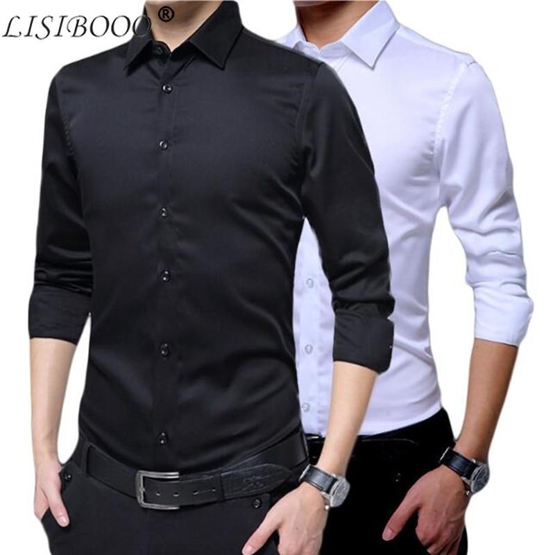 Forceful Mens Long Sleeve Shirt Dress Up Professional Shirt Long Sleeve Mens White Slim Fit Shirt Solid Color Men Business Dress Shirt