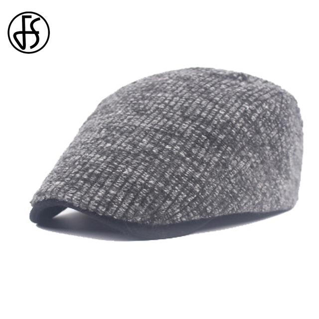 FS Winter Vintage Cotton Beret Hat Knit With Buckle Flat Caps Striped  Casual Newsboy Black Blue Brown Warm Caps For Men 410ec1f8e5f
