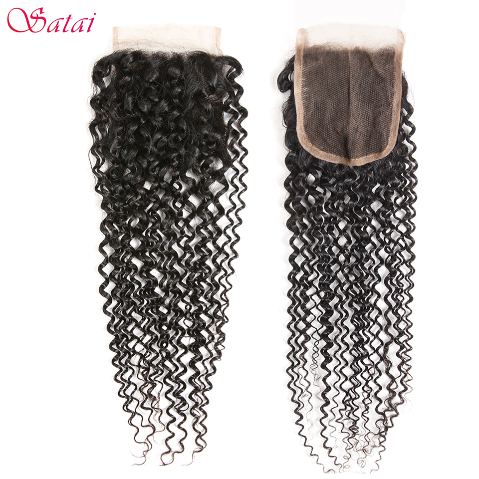 Satai Kinky Curly Hair 4x4 Lace Closure 100% Human Hair 10-20 inch Natural Color Remy Hair Extension 1 Piece