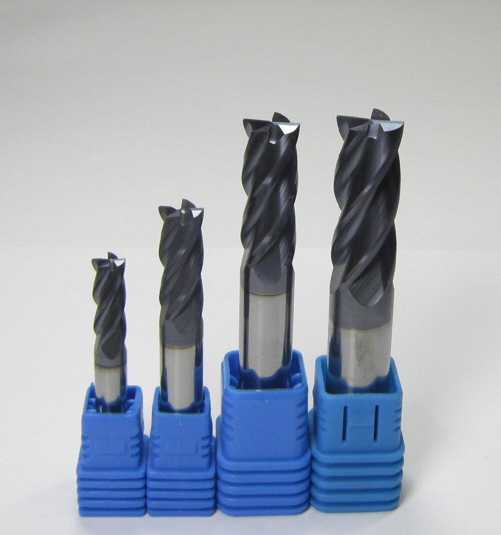 wholesale 4PCS tungsten carbide end mills set milling cutter bits HRC45 4 four flutes 6mm 8mm