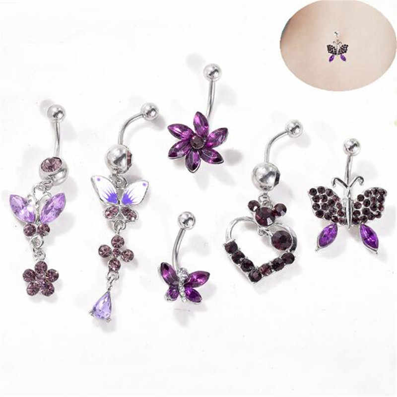 Purple STAR Dangle Navel Belly Button Body Piercing Jewelry Bar Floral Cute Hot