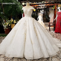 LS92440 2018 thiết kế mới gown trắng organza với ren big váy cap tay áo o cổ corset sexy trong suốt lại wedding ăn mặc