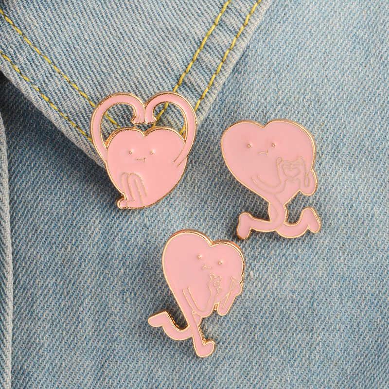 Kartun Pink Jantung Gerakan Bros Enamel Pin Lencana Lucu Cinta Bros Topi Ransel Shirt Lapel Pin Gesper Hadiah untuk Wanita pecinta