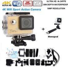 Añadir monopod 4 K cámara de Deportes de acción de vídeo cámara 60fps DV1080P WiFi 2 pulgadas impermeable Acción casco Cámara del deporte del Envío gratis