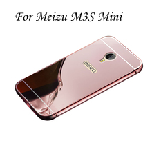 """2 em 1 Destacável + Espelho de Metal de Alumínio Bumper Hard Case Voltar Para Meizu M3 5.0 """"Moldura fina Coque Funda M3 Mini Tampa"""