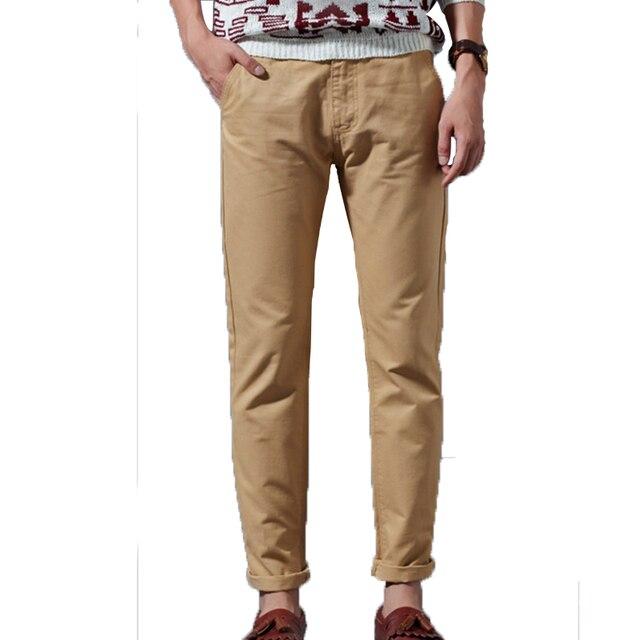 Мужчины брюки Повседневная Chino Брюки Slim Fit Хлопок Хаки Черный Синий Досуг Спортивный Костюм Днища Мужские Бегунов Одежда Pantalons Homme
