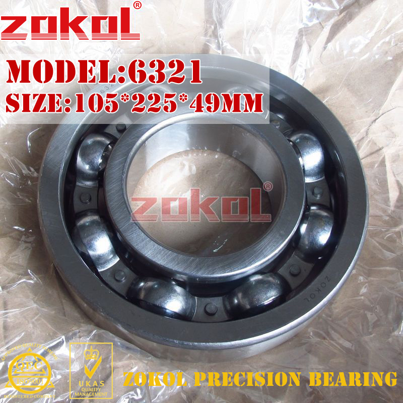ZOKOL bearing 6321 321 Deep Groove ball bearing 105*225*49mm zokol bearing 6318 318 deep groove ball bearing 90 190 43mm