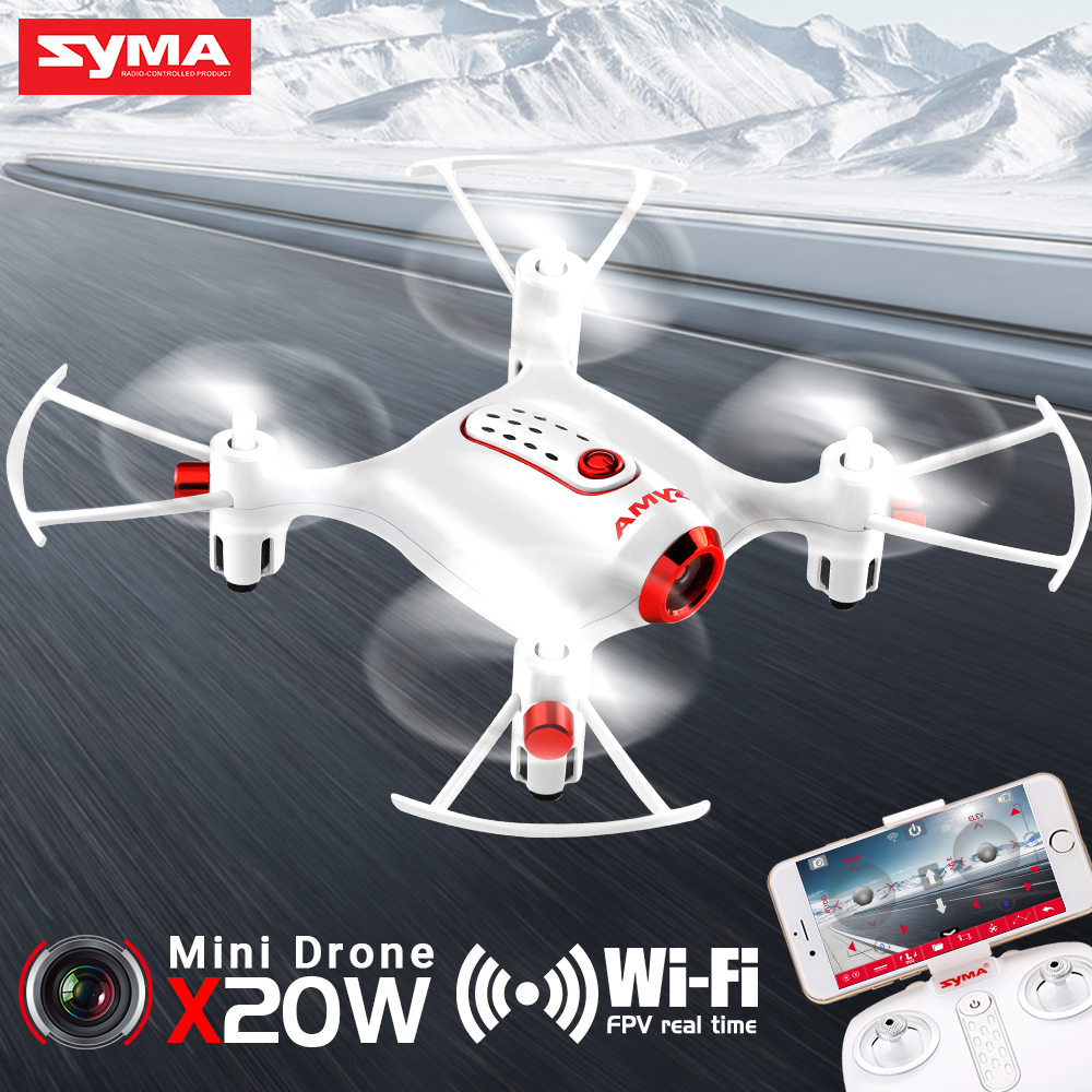 SYMA X20W Mini Drone WIFI Camera FPV Real Time Transit RC Dron Quadcopter Selfie Drone Flight Plan Easy Control Aircraft Toys|RC Helicopters| |  - title=