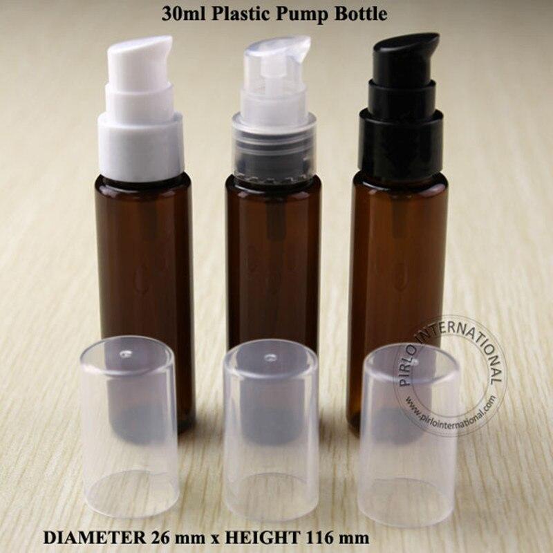 Wholesale 30ml PET Amber Bottle Empty Refillable Lotion Pump Bottle Cosmetic Container Packaging Jar 100pcs lot