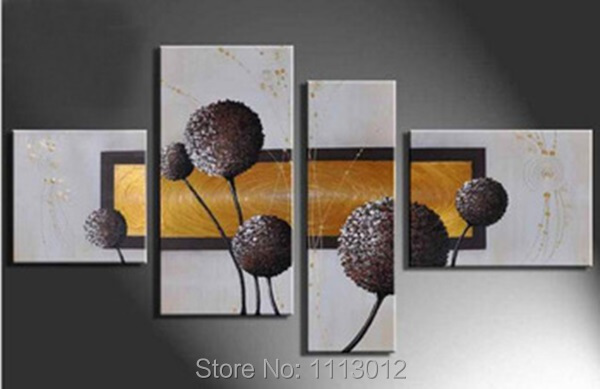 Hot New Flower Landscape Line Sunflower Oil Painting On Canvas Abstract 4 Panel Sets Home Wall Arts Decor For Living Room Sale