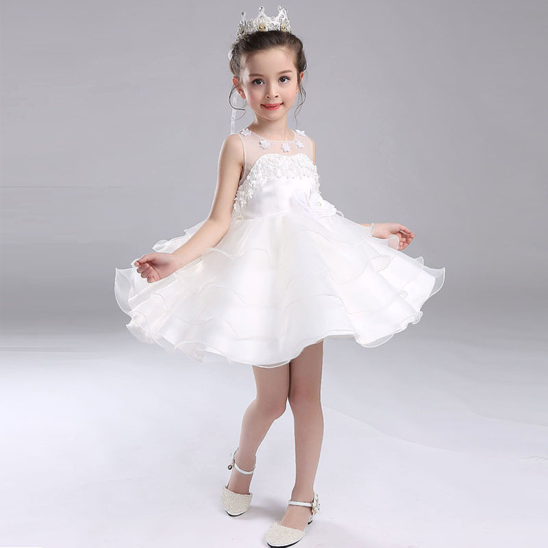 Girls Pageant Dress For Birthday Wedding Cute Princess Dress Sleeveless Ball Gown Hollow-Out Back Flowers Girl Dresses cute dog design sleeveless holloow out swimwear for girls