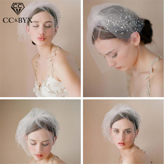 4dfc842d1ce US $9.99 35% OFF|CC Jewelry Veil Hats Short Bride Tiara Wedding Hair  Accessories For Women Bridal Bridesmaids Handmade Party Fine Romantic  V005-in ...