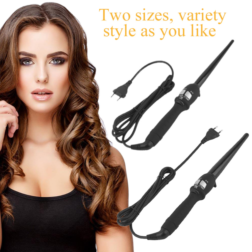 19mm/25mm EU/US Plug Curlers Conical Curling Iron Single Tube Ceramic Glaze Pear Flower Cone Electric Hair Curly acevivi professional hair curler conical curling iron single tube ceramic glaze cone automatic electric magic hair styling tool