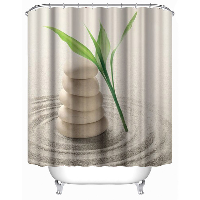 Bathroom Shower Curtain 3D Printed Stone Plant Sand Bath Curtains  Waterproof Polyester Door Curtain With Hooks
