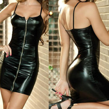 New Sexy Faux PU Zipper Front Tights Leather Wet Look Mini Black Straps Clubwear Bodycon Dress black cross straps front