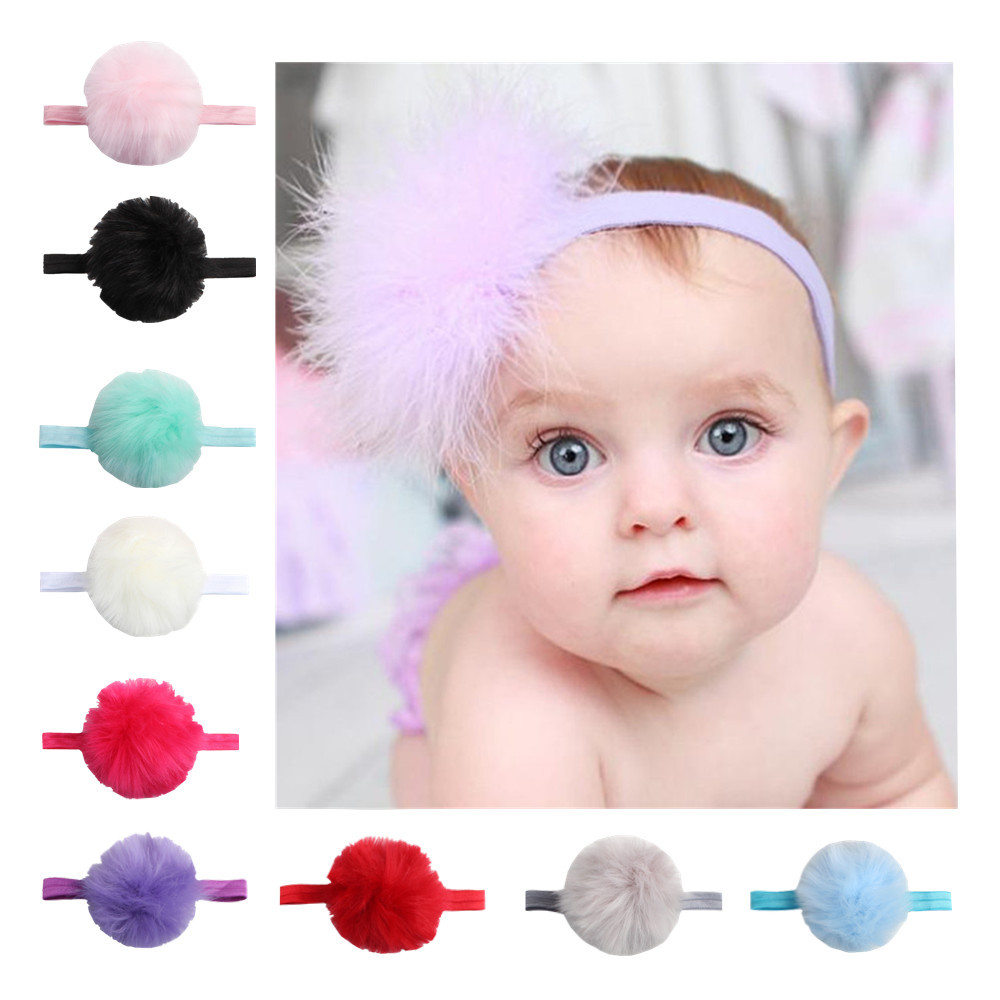 1pc Hot Sale Floral Fur Ball Elastic Hairband Children Fashion Headwrap Kids Winter Warm Hair Accessories Christmas Gift White