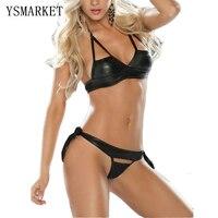 Nouvelle Femme Sexy Noir Halter Faux Cuir Latex Ouvert Tasse Soutien-Gorge G-string Lingerie Set PVC En Cuir Érotique Lingerie de Nuit H3037