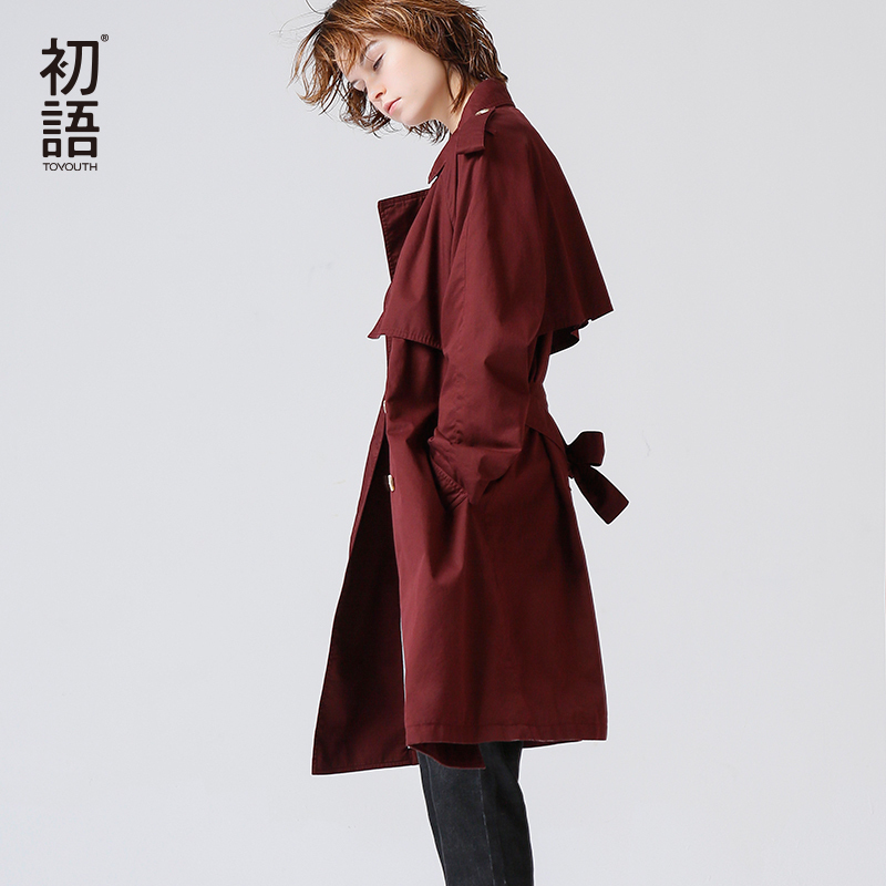 Toyouth European Style Women Outerwear   Trench   Coat 2019 Fashion Turn-Down Collar Slim Ladies Coats Elegant Windbreaker With Belt