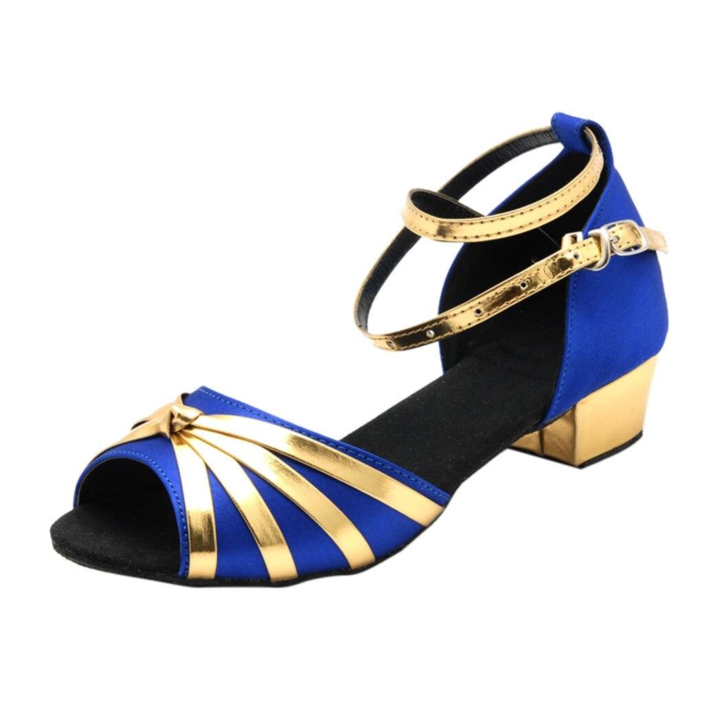 SAGACE Fashion Shoes Sandals Buckle-Strap Square Heel Women Salsa Casual Latin Rumba