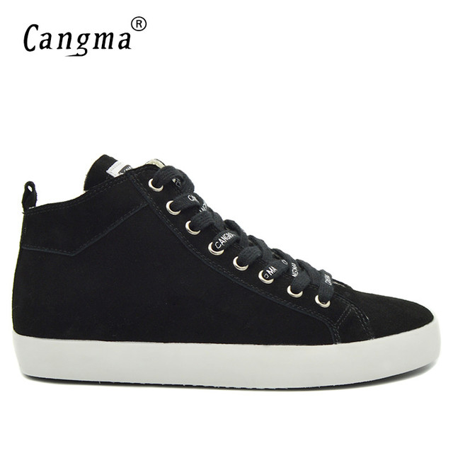 CANGMA Designer Classic Casual Shoes Mans Comfortable Gray Cow Suede Genuine Leather Sneakers Men Leisure Shoes Mid Men's