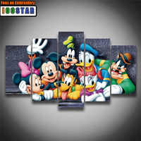 5PCS 3D Full Square/Round Diy Diamond Painting Cross Stitch Pattern Diamond Embroidery Cartoon Mouse Duck Room Decor