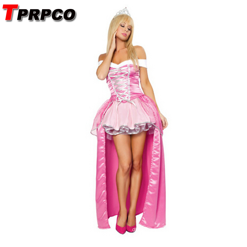 TPRPCO Fairy Tale Princess Costume Sleeping Beauty dress Aurora Cosplay Dress Crown Adult Women Girl Snow White Dress NL147