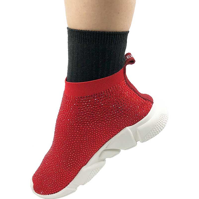 Elehot Rhinestone Red Sock Sneakers (5)