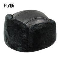 HL073 Winter hats for men women Faux fur bomber real leather cap hat 2017 Russian warm baseball caps hats