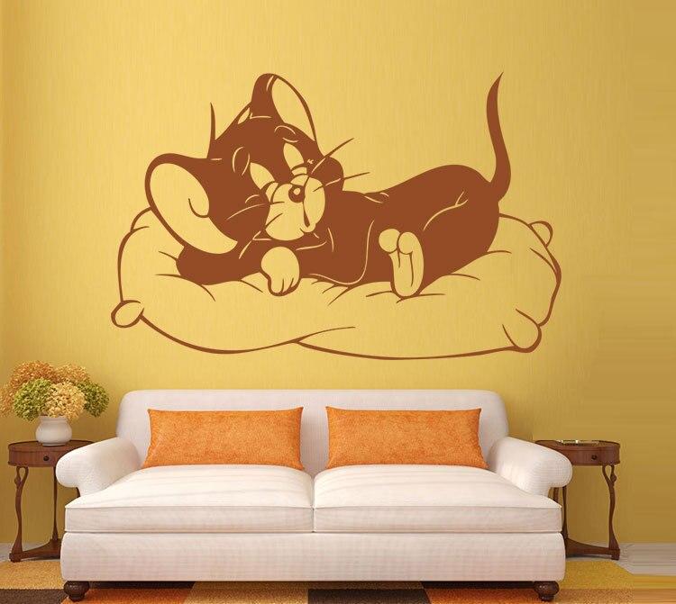 Cat Wall Stickers Sleeping Kitten Sitting Room Bedroom Background ...