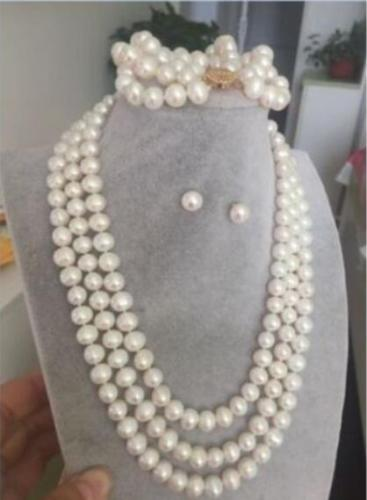 set 3 row 10-9mm south sea round white pearl necklace bracelet + gift earrings south shore 3 piece bookcase set in pure white