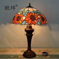 16 дюймов Европейский стиль ретро Американский Пастырское Тиффани витражи Подсолнух настольная лампа столовая спальня лампа