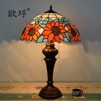16inch European style retro American Pastoral Tiffany stained glass sun flower table lamp dining room bedroom lamp