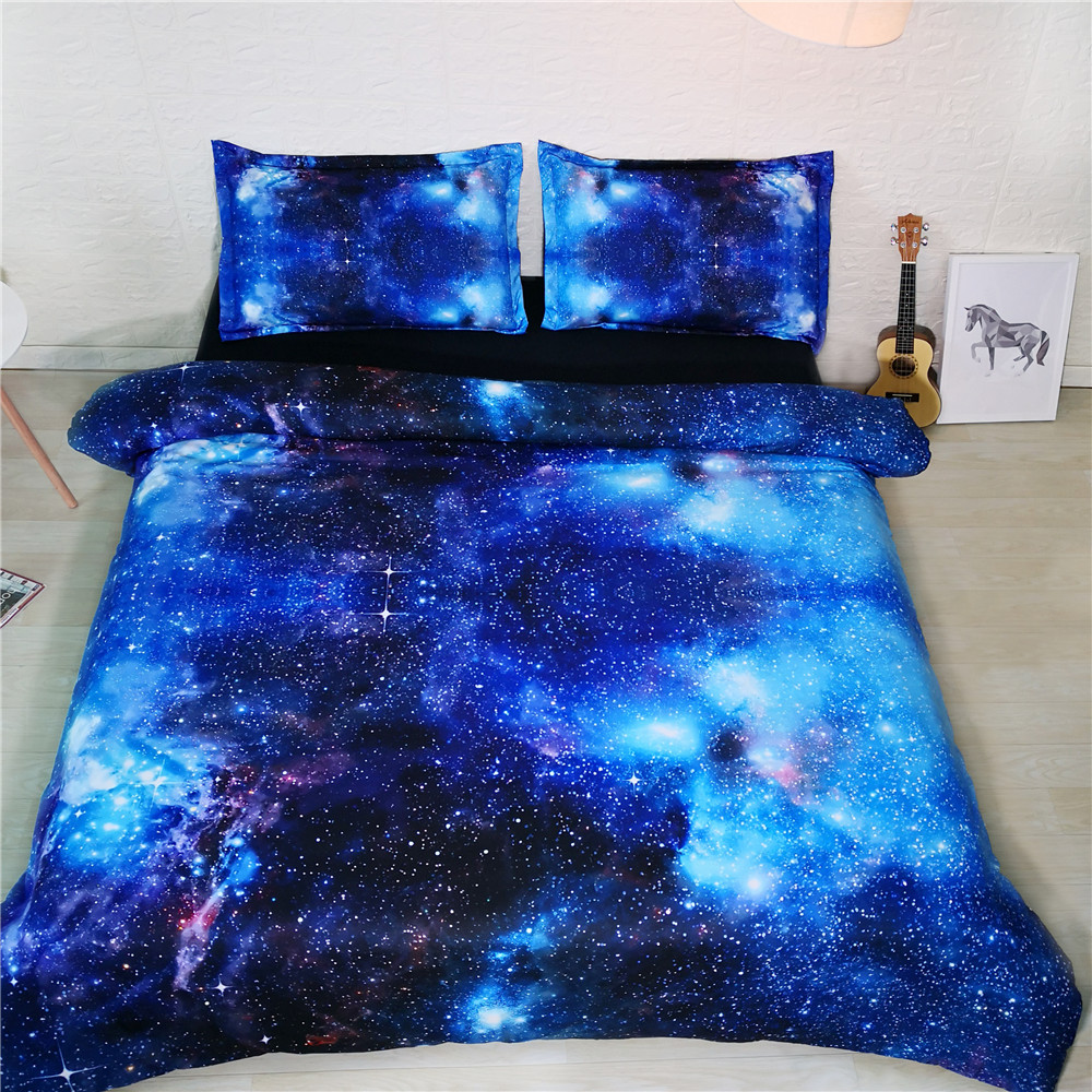 3D Galaxy Bed and Bedding Set Microfiber Bedding Modern fadeless Comforter Duvet Cover Set US Queen