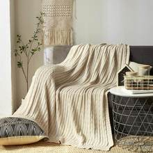 120 x 180cm Nordic Knitted Blanket Twisted Cotton Wool Blanket Sofa Blanket Office Nap Bed Break Line Blanket 5 Colors(China)